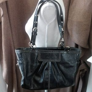 Coach F13761 Navy Blue Tote Bag Crinkle Leather